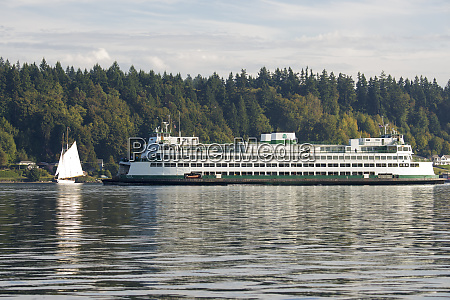 washington sate ferry passing schooner adventuress