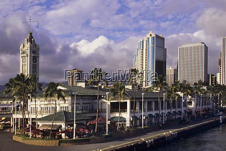famed aloha tower dominates the scene