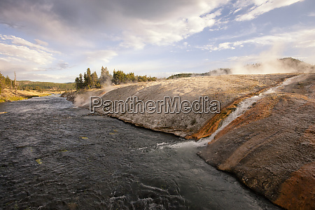 river tributary from fumaroles yellowstone national