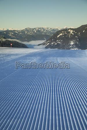 fresh snow on ski slope winter