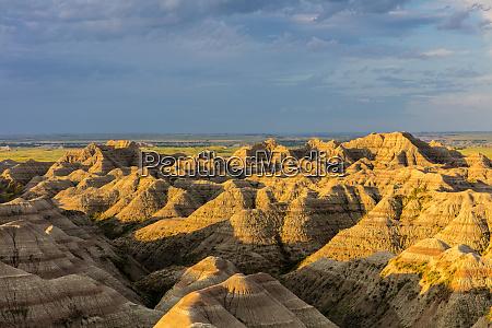badland formations in badlands national park