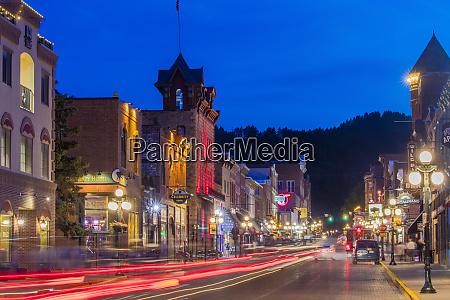 historic main street at dusk in