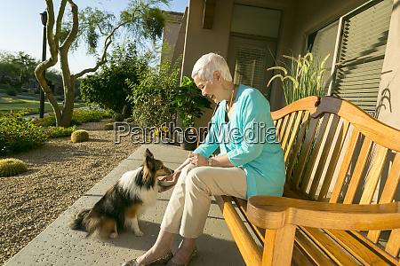 beautiful elderly woman having fun with