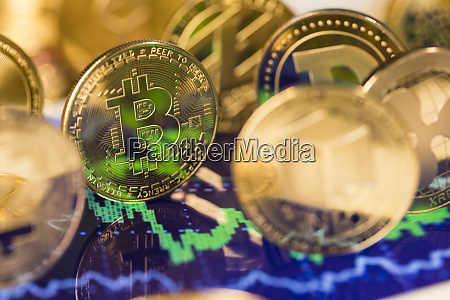 bitcoin litecoin etherium coins close up