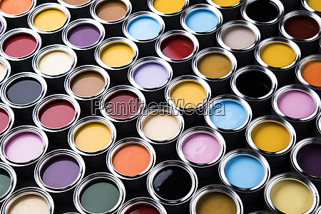 rainbow tin metal cans with color