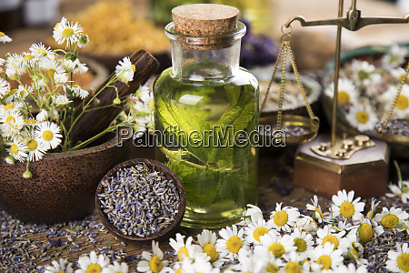 oil and natural medicine wooden table