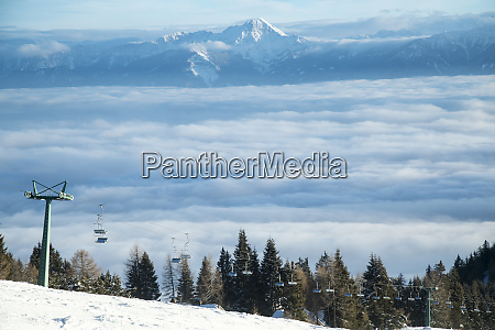 cableway in mountains winter nature landscape