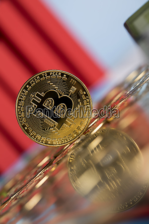 gold bitcoin on the background of