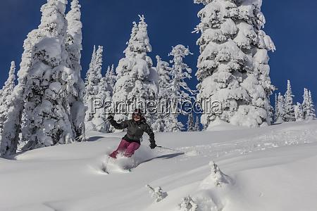 powder ski action at whitefish mountain