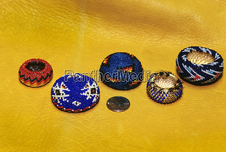 assortment of pomo miniature baskets decorated