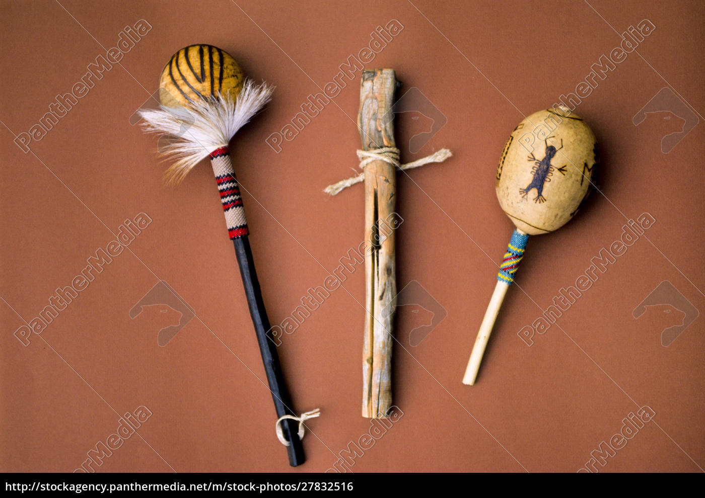 traditional, pomo, rattles, and, clapper, stick - 27832516