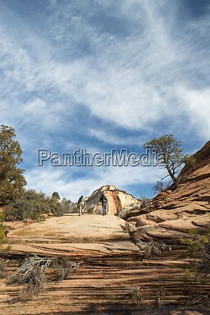 hikers explore zion national park east