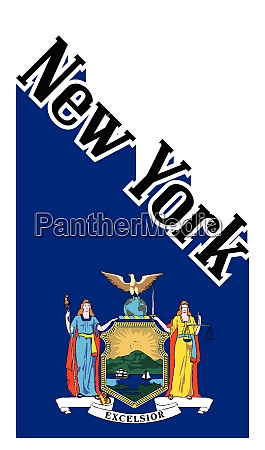 new york state angled shadow text