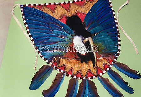 colorful feather ceremonial dance apron with