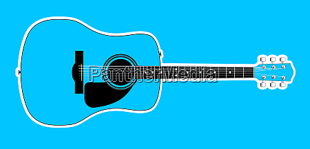 blue acoustic guitar over blue background