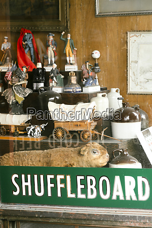 window display of an antique shop