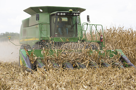 farmer harvesting corn marion county illinois