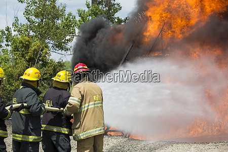 firefighters at oilfield tank training marion