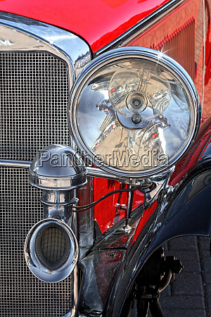 close up details of antique mercedes