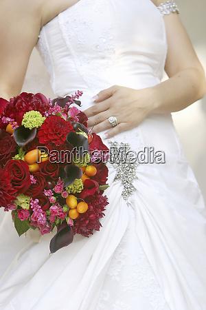 a bride shows off her dress