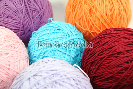 yarn and wool in skeins and