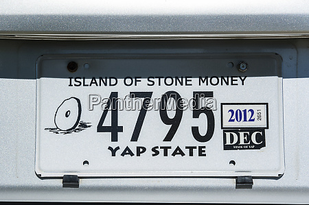 license plate of yap island of