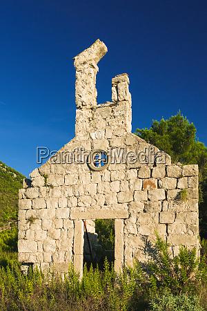 church ruin ston dalmatian coast croatia