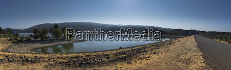 panorama of lake mendocino with person
