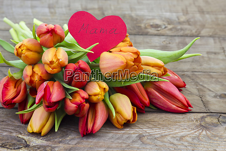 bouquet of tulips and heart