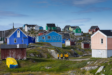 greenland itilleq tourists walking though town