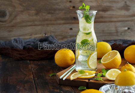 homemade refreshing drink with lemon juice