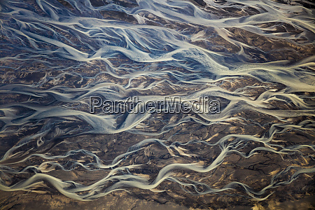 aerial of braided rivers iceland