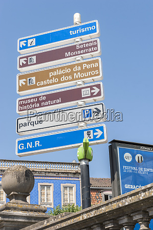 europe portugal sintra portuguese tourist signs