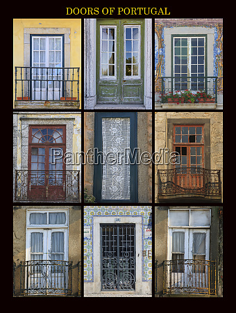 a poster featuring nine different doors