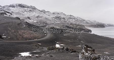 landscape at lake kleifarvatn during winter