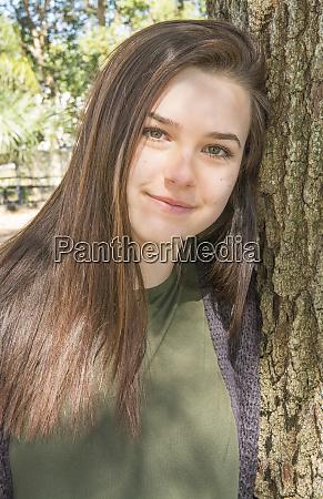 young teenage girl age 15 portrait