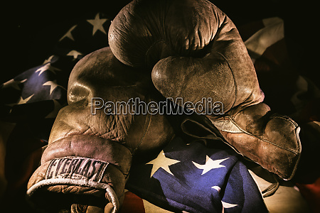 pair of vintage boxing gloves laying