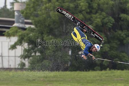 water skier in mid turn in