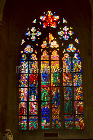 czech republic prague stained glass window