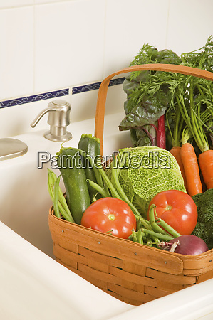 basket of produce in a kitchen