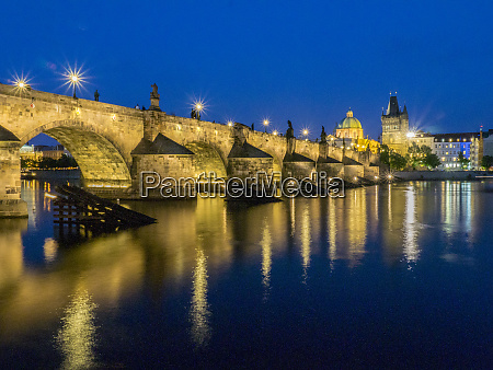 czech republic prague charles bridge water