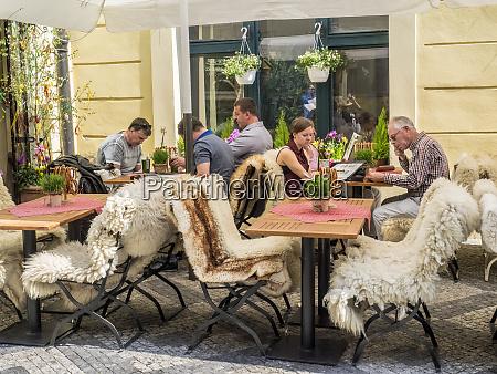 czech republic prague tourist at a
