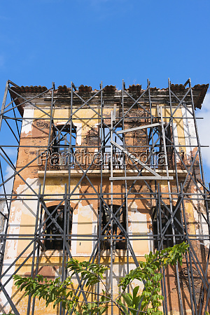 scaffold outside a building in historic
