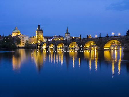 czech republic prague charles bridge along