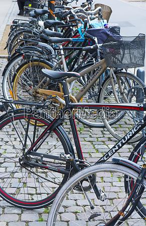 copenhagen denmark bicycles in rack downtown