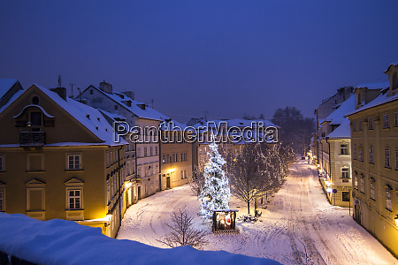 prague czech republic snow covered row