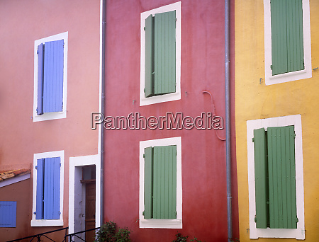 france provence roussillon colorful building exteriors