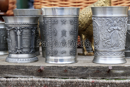 romania pewter drinking cups