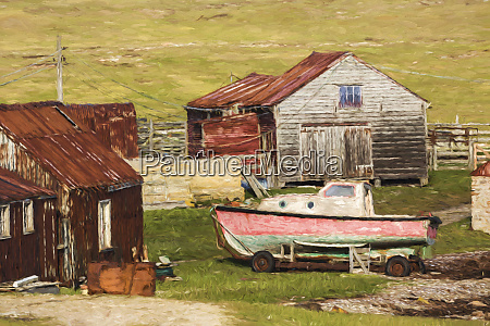 settlement and boat pebble island falkland