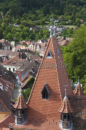 romania transylvania sighisoara elevated city view